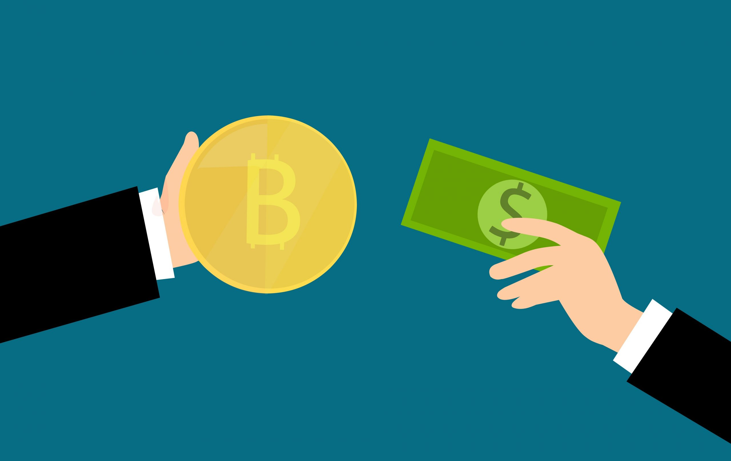 Picture of two animated hands exchanging paper currency for Bitcoin