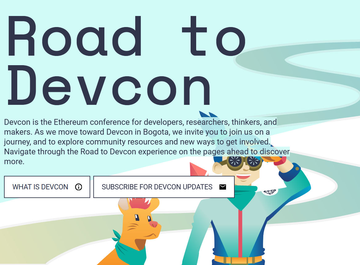 Ethereum devcon homepage with doge character