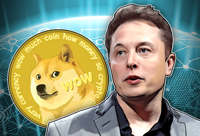 Picture of Elon Musk in front of a Dogecoin