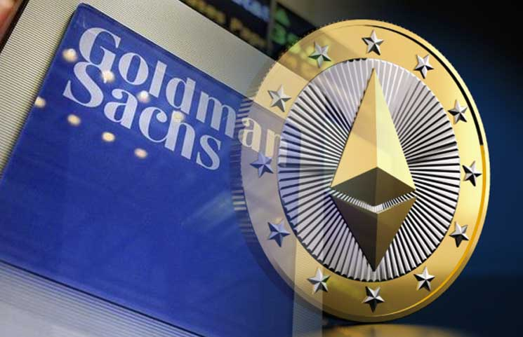 Goldman Sachs logo with an Ethereum logo superimposed on it