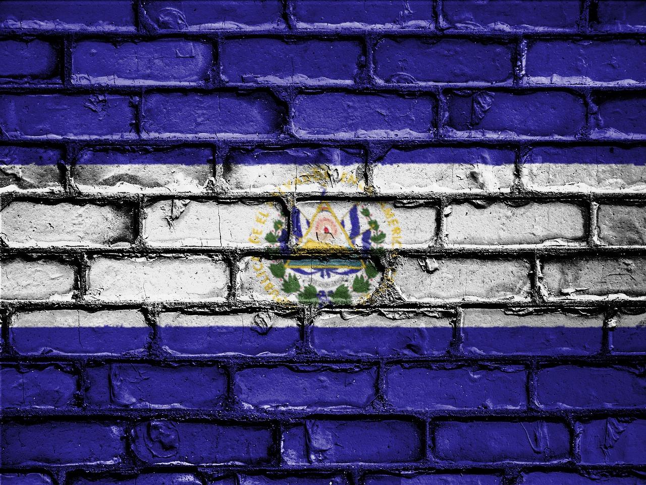Bukele, El Salvador's flag in a wall