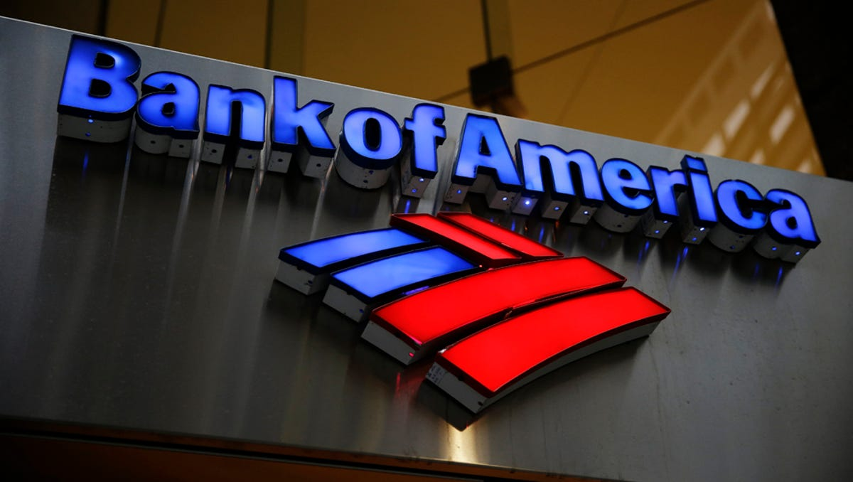 Bank of America sign with their logo underneath it