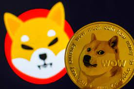 Picture of a baby doge coin next to a dogecoin