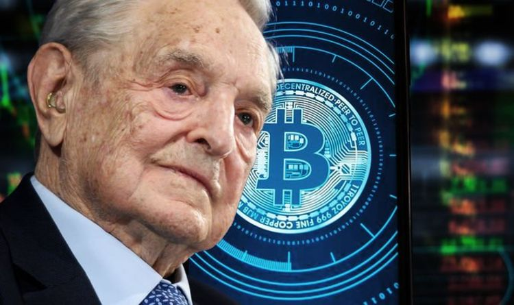 Picture of George Soros next to a bitcoin