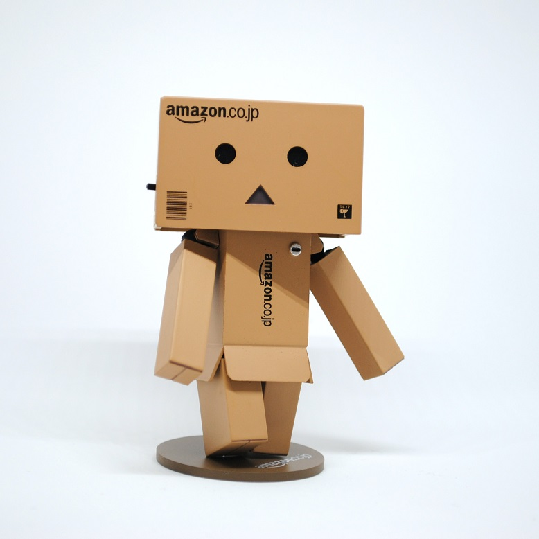 Amazon, a doll made with Amazon boxes