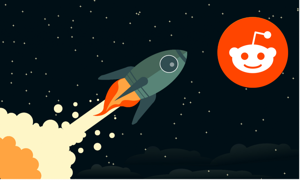 Picture of a rocketship heading toward a Reddit Moon