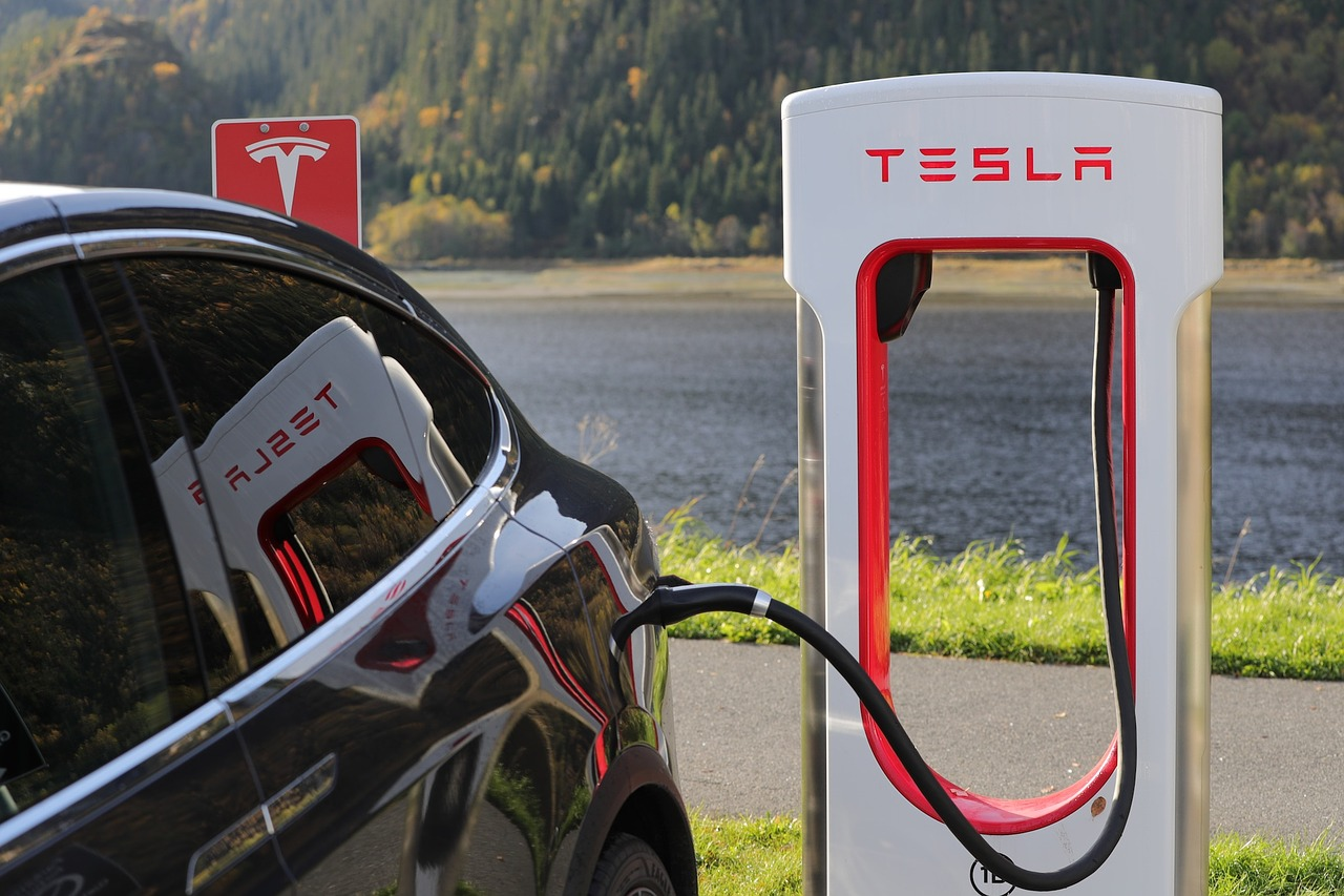 Tesla charging station with a car