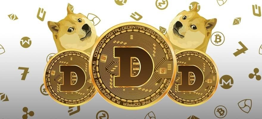 Picture of three dogecoins with two Shiba Inu dogs behind them