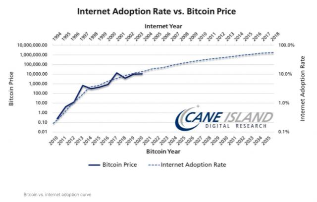 Internet versus bitcoin adoption curve