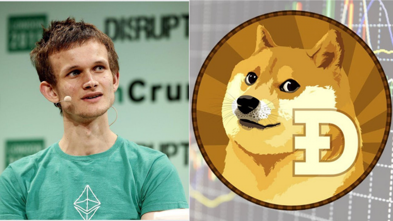 Picture of Ethereum founder Vitalik Buterin next a Dogecoin, as he joins Board of Advisors for Dogecoin Foundation