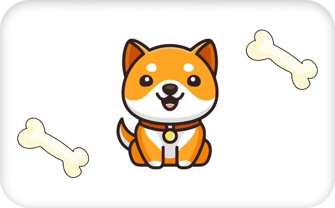 Picture of Baby Doge logo with two dog bones at either side of it
