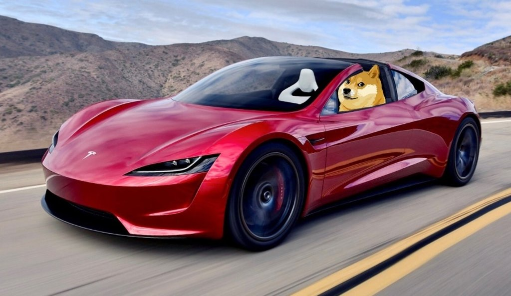 Picture of a Tesla electric vehicle with a Shiba Inu, the symbol for Doge, in the driver's seat