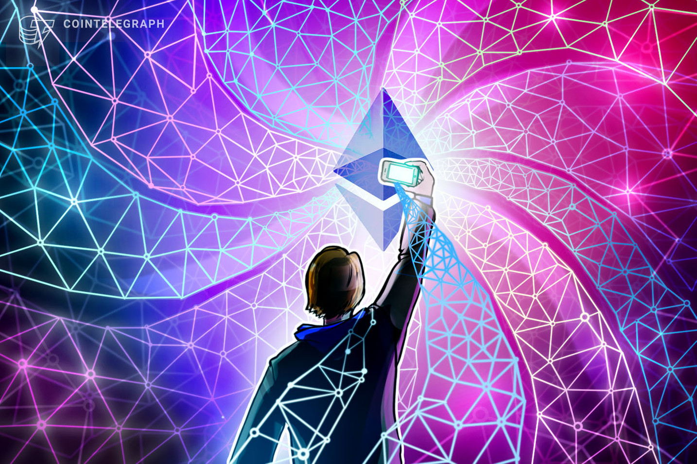 Picture of person holding a smartphone up to a glowing Ethereum logo, depicting changes made during London Hark Fork and EIP-1559, leading up to ETH 2.0
