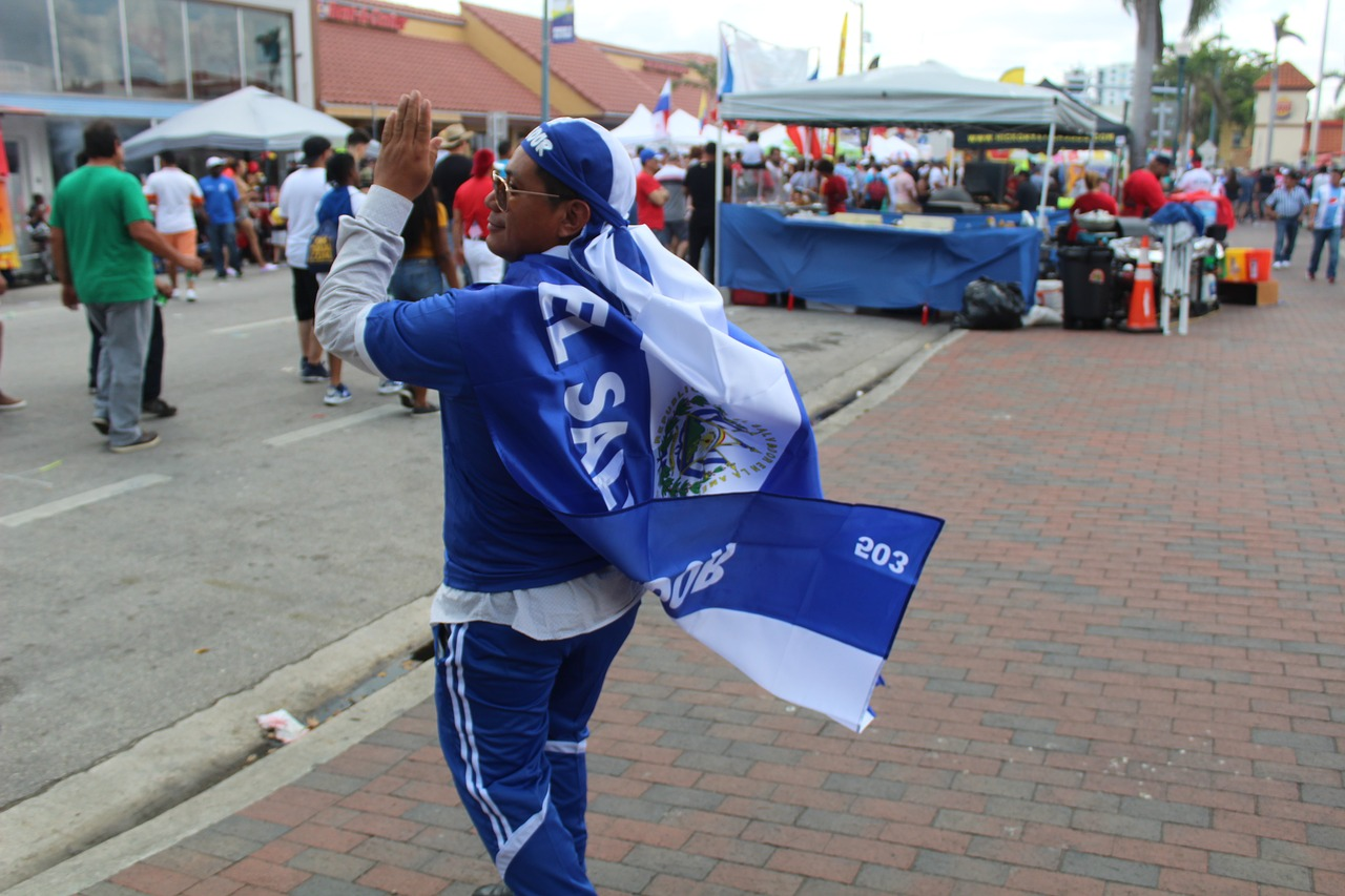 National Review, man dressed with El Salvador's colors
