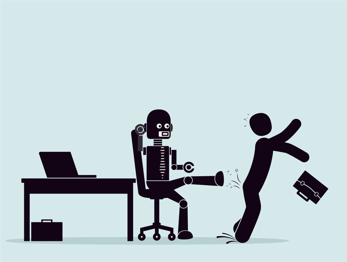 Picture of a robot sitting on an office chair, kicking a human out