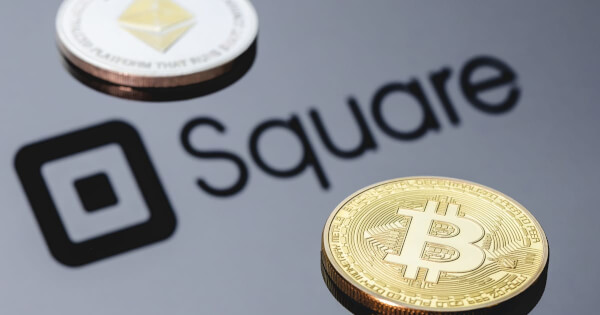 Picture of Square logo with a bitcoin and an ethereum coin next to it, as Square acquires Afterpay