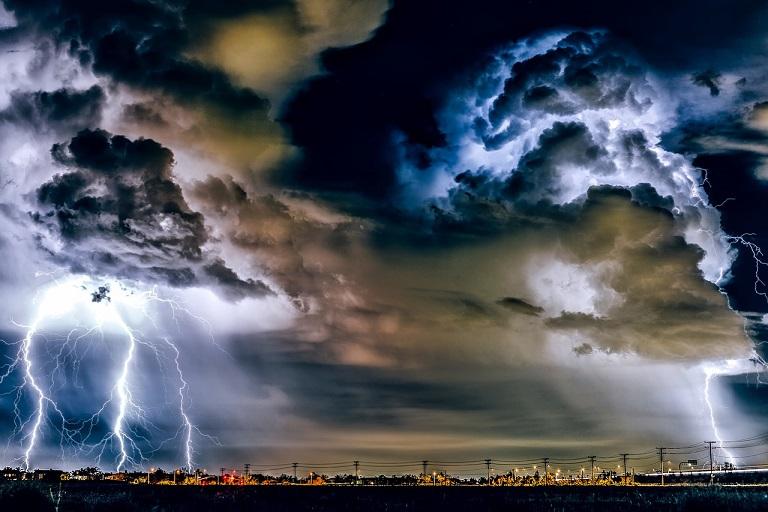 Lightning Network, a thunderstorm over a city