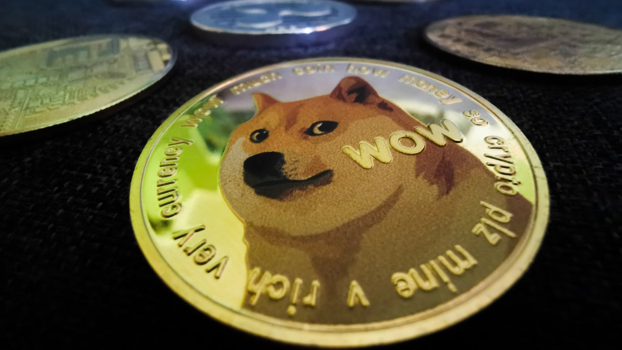 Picture of a Dogecoin in focus with other crypto coins out of focus behind it
