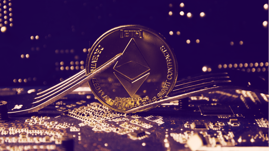 Picture of an Ethereum coin on a circuit board