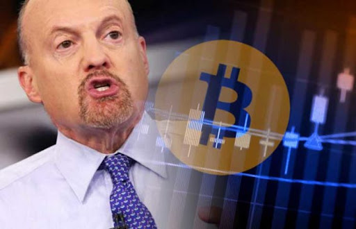 Picture of Jim Cramer with a crypto coin next to him