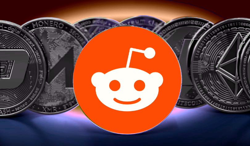 Picture of the Reddit logo in front of various crypto coins