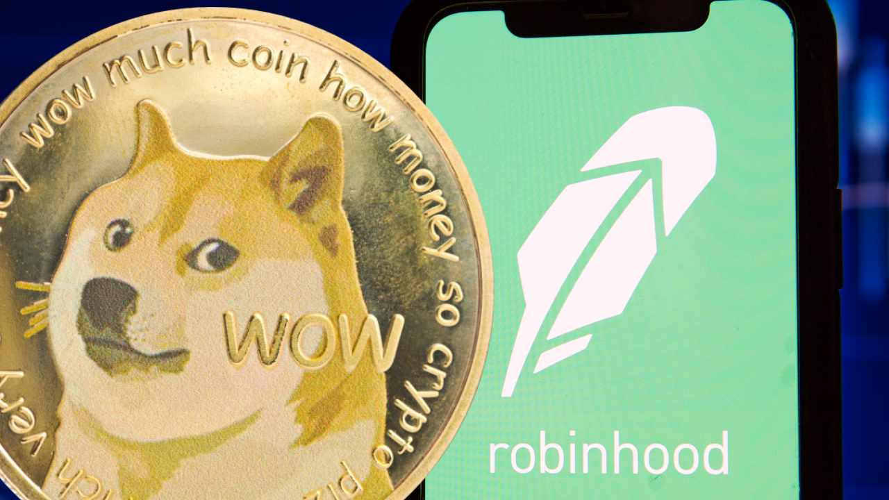 Picture of a gold Dogecoin next to a mobile phone with Robinhood app opened on it