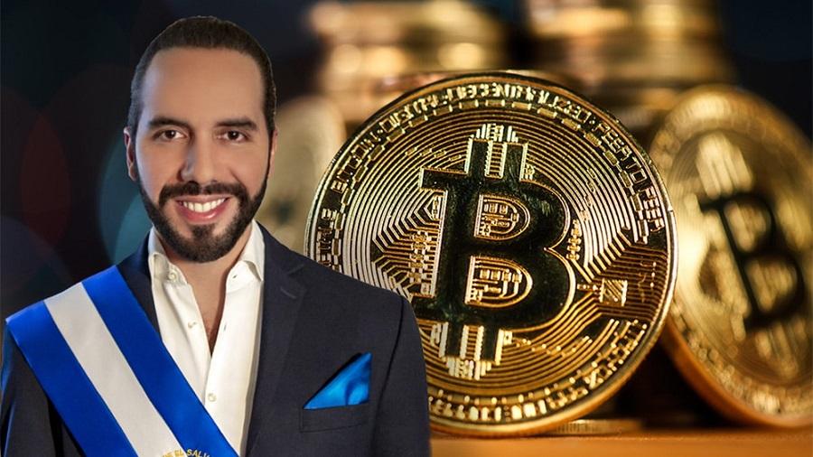 Picture of El Salvador president Nayib Bukele next to a gold bitcoin