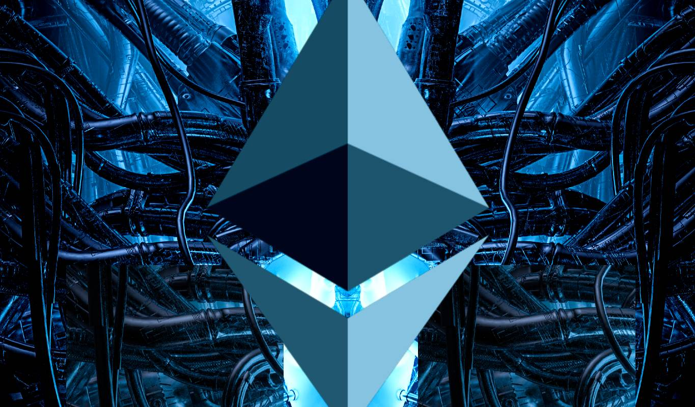 Picture of an ETH logo with a criss cross of wires behind it