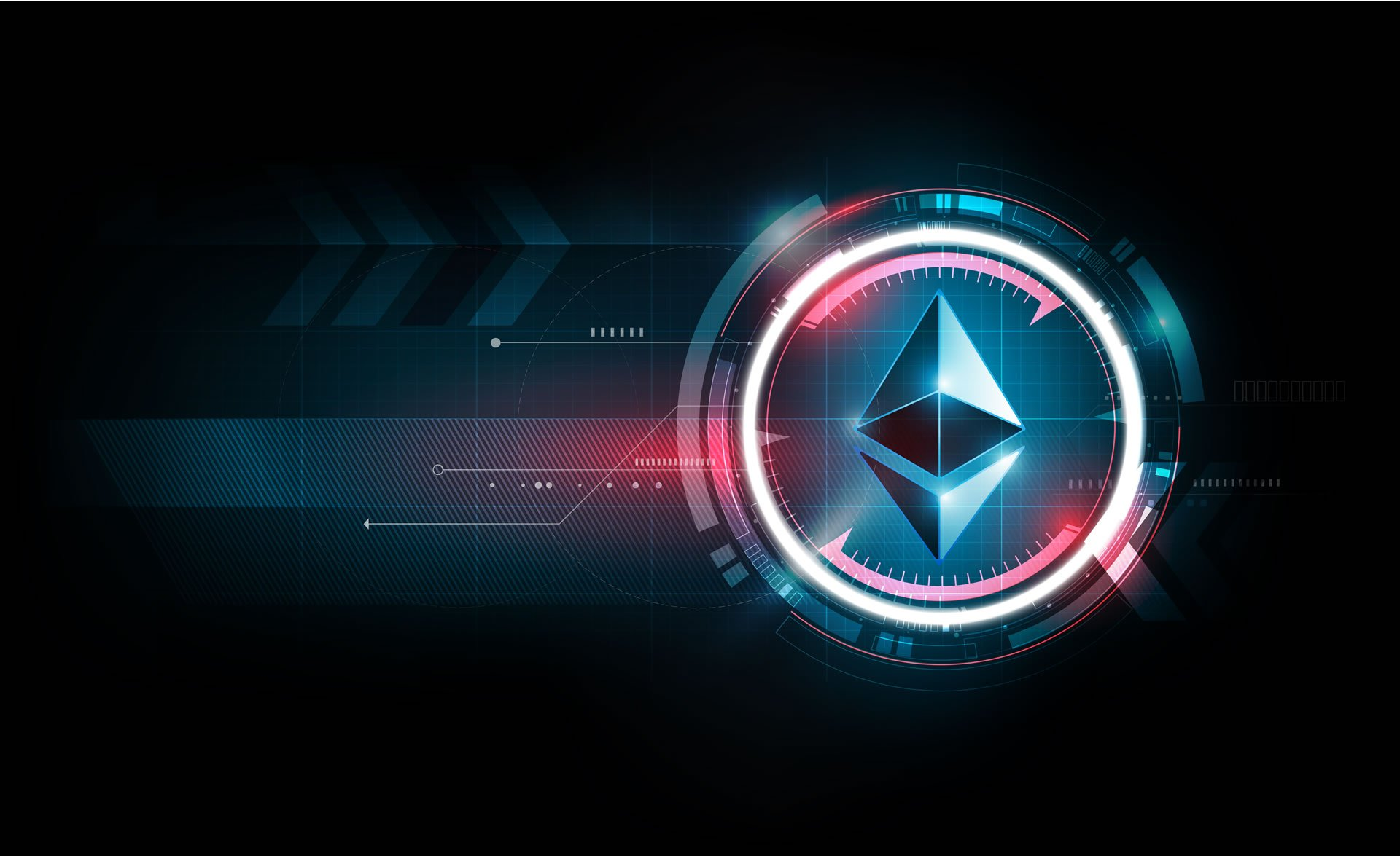 Picture of an Ethereum logo in a computer simulation